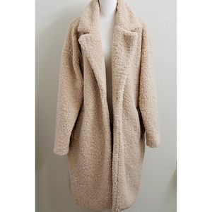 NEW - Light Tan/Cream Long Faux Fur Teddy Coat